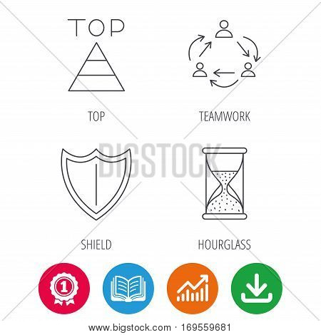 Teamwork, shield and top pyramid icons. Hourglass linear sign. Award medal, growth chart and opened book web icons. Download arrow. Vector