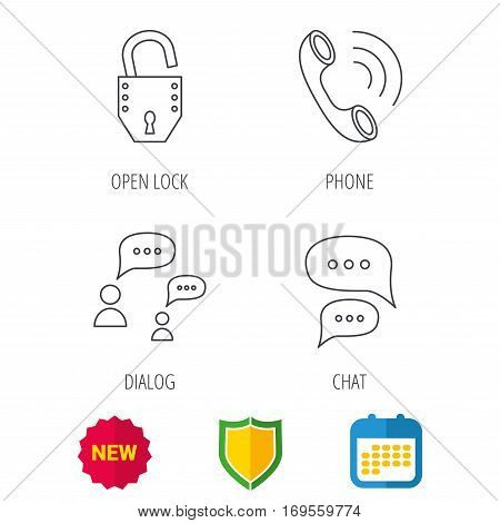 Phone call, chat speech bubbles and lock icons. Dialog linear sign. Shield protection, calendar and new tag web icons. Vector