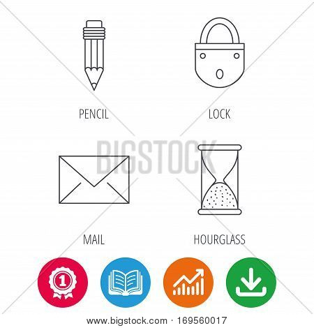 Mail envelope, pencil and lock icons. Hourglass linear sign. Award medal, growth chart and opened book web icons. Download arrow. Vector