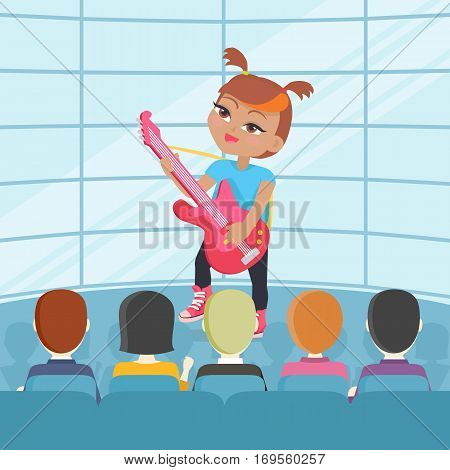 Girl playing on guitar isolated on stage. Adorable little girl has leisure time. Young singer at music lesson. Toddler on stage play on musical instrument in flat style. Daily activity. Vector