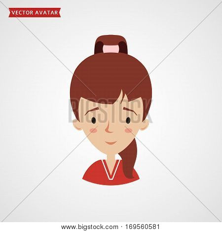 Face of a cute girl with ponytail hairstyle. Vector avatar. Flat icon isolated on white background.