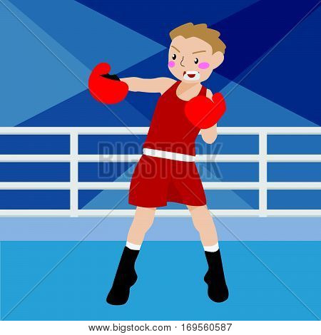 boxing athletic sport vector cartoon illustration set