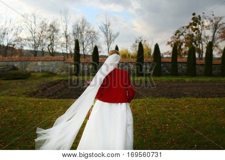 Wind Blows Bride's Veil Away While She Stands In An Old Park