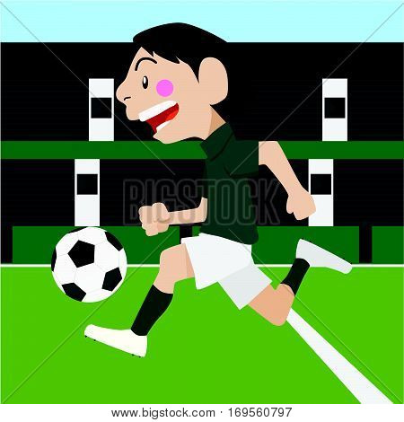 Football soccer sport vector cartoon illustration set