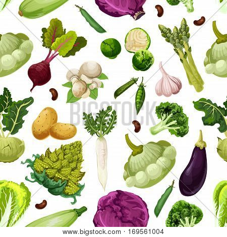 Vegetables seamless pattern of vector veggies romanesco broccoli, patisony and zucchini squash, eggplant and chinese cabbage napa, asparagus, peas or beans, brussels sprouts and kohlrabi, champignon and garlic. Natural fresh farm vegetables harvest