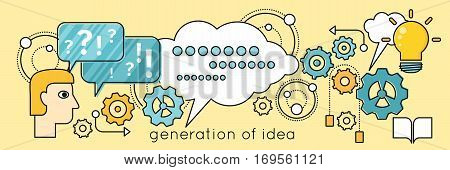 Generation of idea background in flat. Idea generation, problem solving, strategy solution, analysis innovation, research, brainstorm, good solution, optimization, insight inspiration illustration