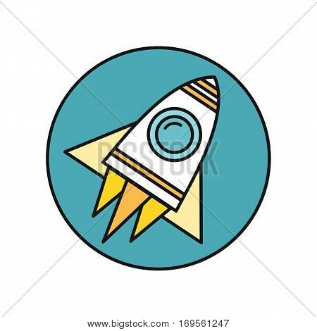 Spaceship round icon in flat. Spaceship on round blue background. Spacecraft icon. Rocket icon. Business design element. Design element, sign, symbol, icon in flat. Vector illustration.