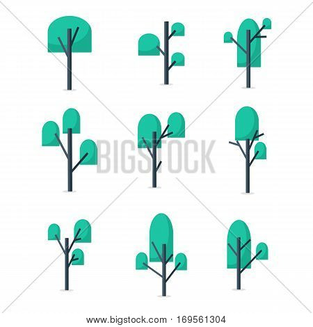 Vector illustration of tree style collection stock