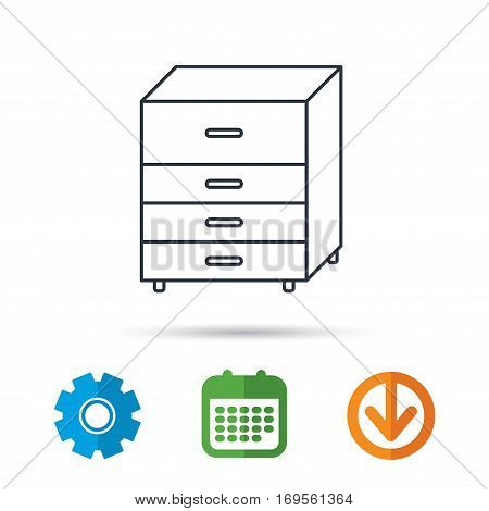 Chest of drawers icon. Interior commode sign. Calendar, cogwheel and download arrow signs. Colored flat web icons. Vector