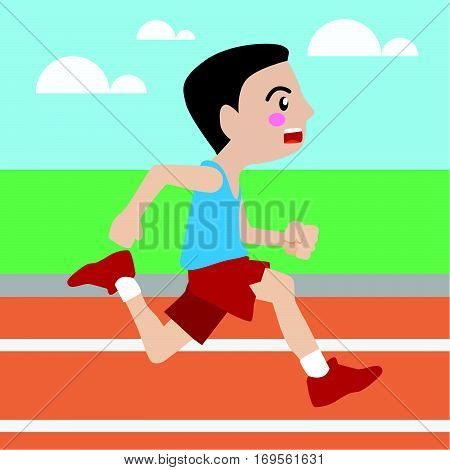 Running athletic sport vector cartoon illustration set