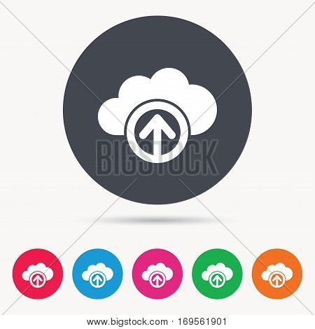 Upload from cloud icon. Data storage technology symbol. Colored circle buttons with flat web icon. Vector