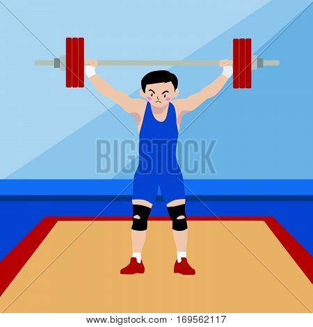 Weightlifting athletic sport vector cartoon illustration set