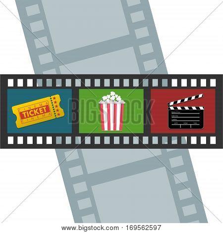 Cinema design, ticket icon, popcorn, clipper and movie frame