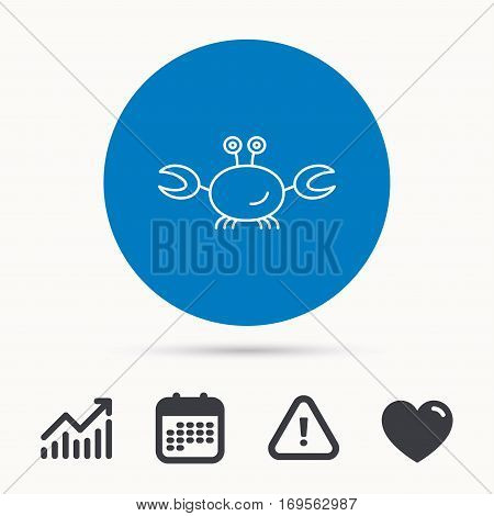 Crab icon. Cancer shellfish sign. Wildlife symbol. Calendar, attention sign and growth chart. Button with web icon. Vector