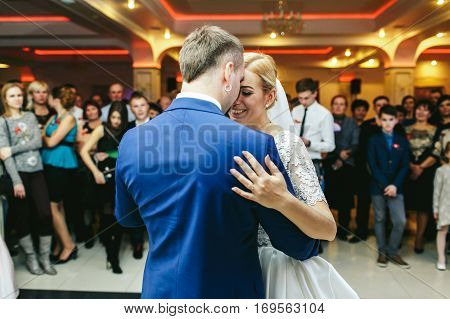 Bride Looks Joyful Dancing With A Stylish Groom At The First Time