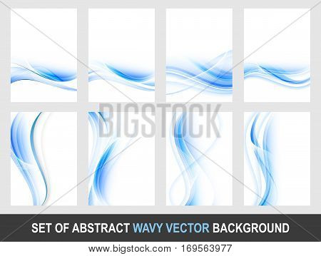 Set of abstract blue wavy vector background. Editable design with place for your content or creative editing.