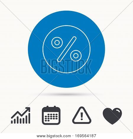 Discount percent icon. Sale sign. Special offer symbol. Calendar, attention sign and growth chart. Button with web icon. Vector