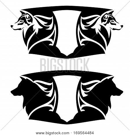 wolf head and heraldic shield - black and white vector emblem design