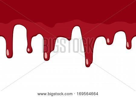 Dripping blood seamless border. Repeatable illustration of blood or red paint flow down