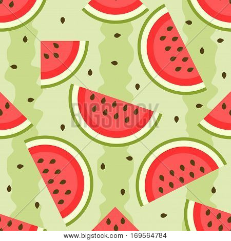 seamless pattern with tasty and sweet watermelon