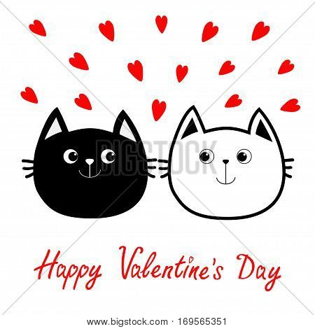 Black White contour Cat head couple family icon. Red heart set. Cute funny cartoon character. Happy Valentines day Greeting card. Kitty Whisker Baby pet collection background. Isolated. Flat Vector