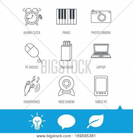 Photo camera, USB flash and notebook laptop icons. PC mouse, alarm clock and web camera linear signs. Tablet PC and music headphones icons. Light bulb, speech bubble and leaf web icons. Vector