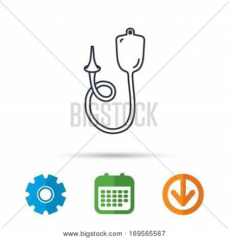 Enema icon. Medical clyster sign. Calendar, cogwheel and download arrow signs. Colored flat web icons. Vector
