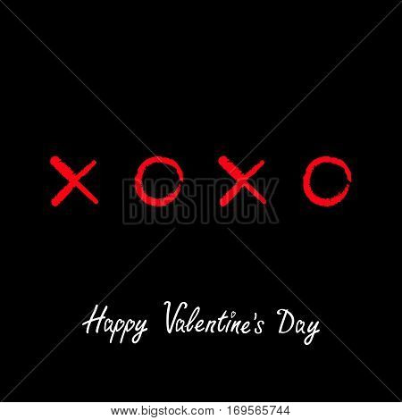 Xoxo Hugs and kisses Sign symbol mark Love Red Chalk effect Word text lettering. Happy Valentines day. Greeting card. Flat design Black background Isolated. Vector illustration