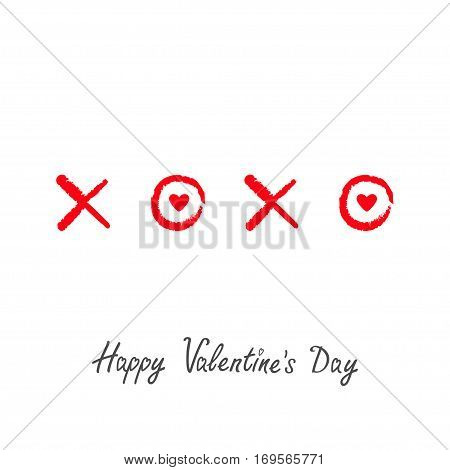 Xoxo Hugs and kisses Sign symbol mark Love Red heart Chalk effect Word text lettering. Happy Valentines day. Greeting card. Flat design White background Isolated. Vector illustration