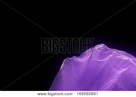 Mountain in Wireframe Hologram Style. Nice 3D Rendering