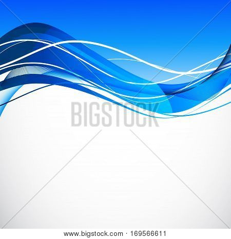 Abstract bright soft design background with blue wavy curved lines in dynamic smooth style. Vector illustration