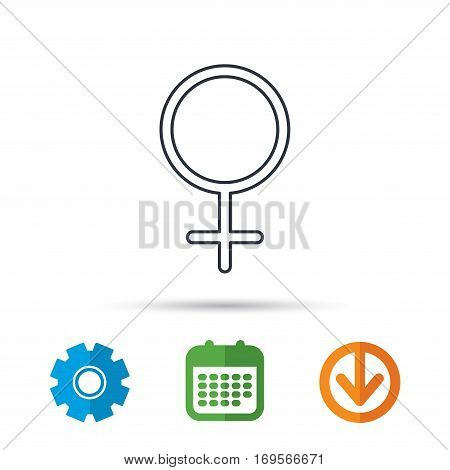 Female icon. Women sex sign. Calendar, cogwheel and download arrow signs. Colored flat web icons. Vector