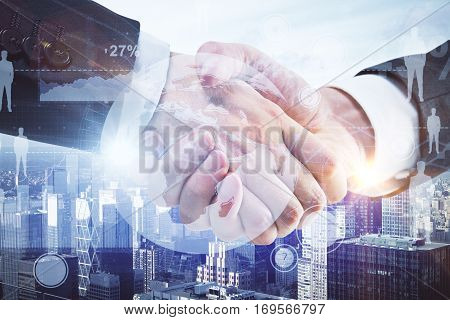 Close up of handshake with creative digital charts terrestrial globe and HR icons on city background. Teamwork concept