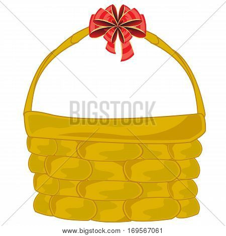 Basket braided with red bow on white background