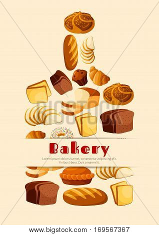 Bread vector poster of wheat rye brick and braided bagel, sliced bread toasts and pretzel, sweet pie cake and croissant, long loaf and chocolate muffin, donut or cupcake. Cutting board design for bakery, baker shop or patisserie