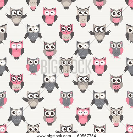 seamless pattern with cute owls and owlets