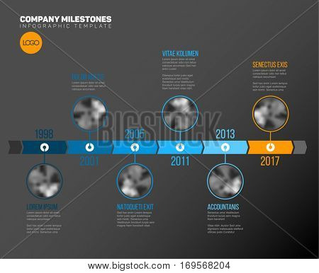 Vector Infographic Company Milestones Timeline Template with circle photo placeholders on a blue time line - dark version