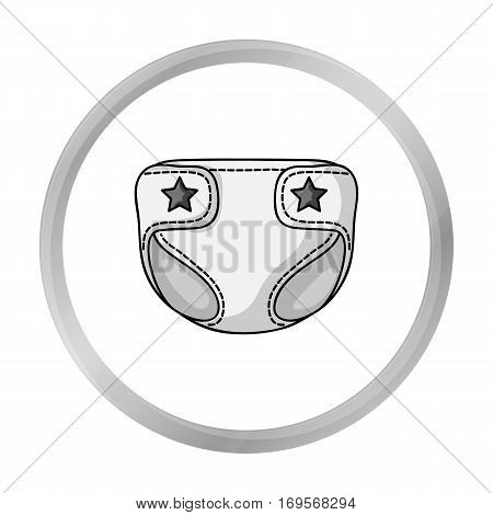 Baby diaper icon in monochrome style isolated on white background. Baby born symbol vector illustration.