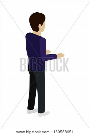 Man character vector in isometric projection. Person standing backwards with bent at the elbows hands. Pose template for standing near reception, cash register, bar. Isolated on white.