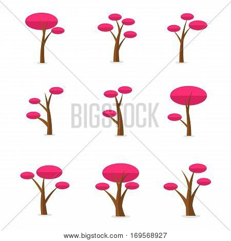 Illustration of tree set for game collection stock