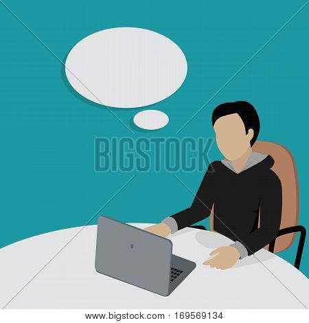 Man working with laptop in office. Man in black sweater sitting at the table with empty dialog window. Isolated object in flat design on white background. Vector illustration