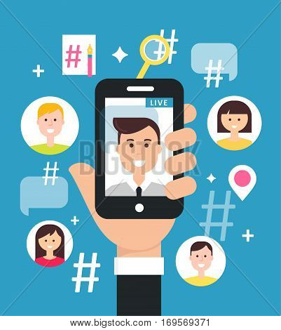 Attracting Followers with Live Video Streaming from Smart Phone. Vector Illustration