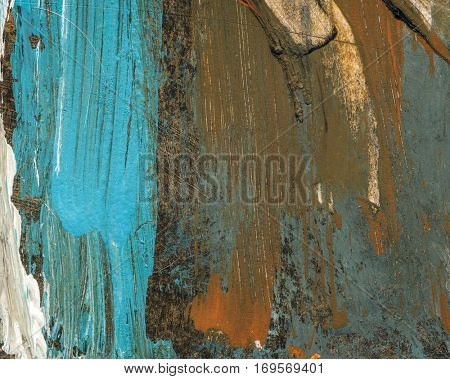 Original abstract acrylic color painting on artistic canvas. Hand painted artwork or grunge background. Colorful texture paintings for wall decor. Modern and contemporary blue,cyan white and brown art