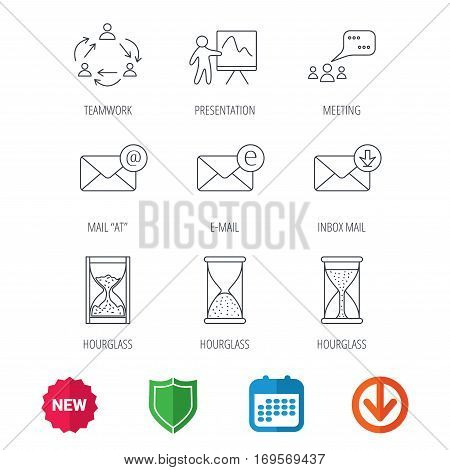 Teamwork, presentation and meeting chat bubbles icons. E-mail inbox, hourglass linear signs. New tag, shield and calendar web icons. Download arrow. Vector