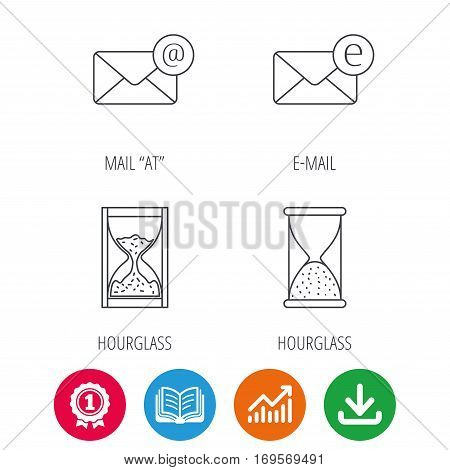 Mail, e-mail and hourglass icons. E-mail inbox linear sign. Award medal, growth chart and opened book web icons. Download arrow. Vector