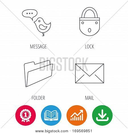 Lock, folder hand and e-mail icons. Bird message linear sign. Award medal, growth chart and opened book web icons. Download arrow. Vector