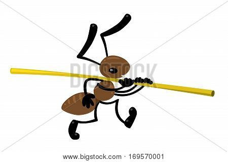 Children vector illustration of funny small ant carries a straw