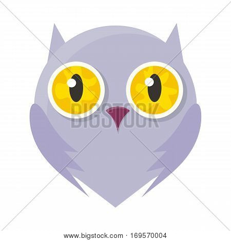 Owl mask isolated on white. Bird of Minerva or flying cat. Cartoon character face to celebrate happy events at kindergarten, birthday, holiday festival. Sticker for toddler. Vector in flat style