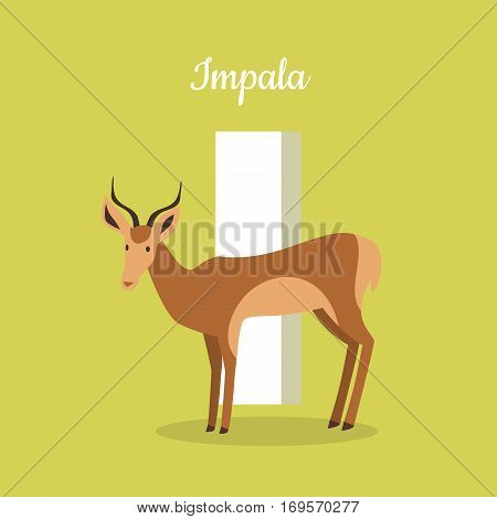 Animals alphabet. Letter - I. Brown impala stands near letter. Alphabet learning chart with animal illustration for letter and animal name. Vector zoo alphabet with cartoon animal on green background