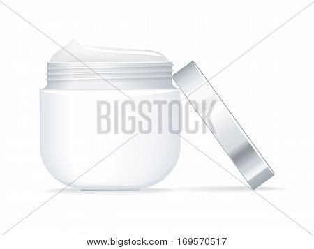 Blank white container for cosmetics with open cap on white background. Container for cream. Product for body, face and skin care, beauty, health, freshness, youth, hygiene. Realistic illustration.